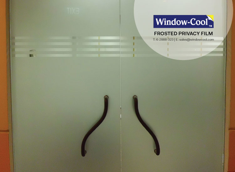 High Density Frosted Privacy Film With Strip Line Design On Office