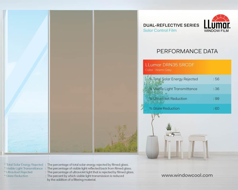 LLumar DRN35SRCDF Warm Grey Performance Data - Dual Reflective Solar Film Singapore