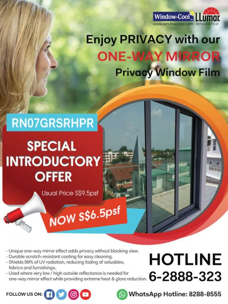 Window Film Promotion LLumar RN07 One Way Mirror Solar Reflective Window Film Singapore